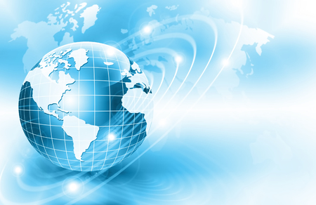 Best Internet Concept of global business. Globe, glowing lines on technological background. rays, symbols Internet, 3D illustration Stock Photo