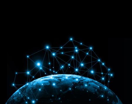 宇宙からの地球。概念シリーズからグローバル ビジネスの最高のインターネットの概念。3 D イラスト。旅行、インターネット、技術、コミュニケー
