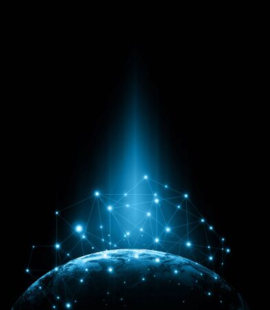 宇宙からの地球。コンセプトシリーズからグローバルビジネスのベストインターネットコンセプト。 3Dイラストレーション 写真素材