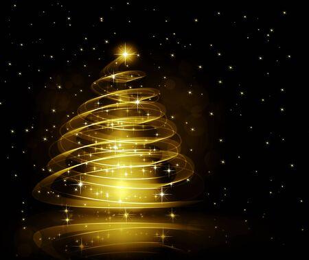 Christmas gold tree background Archivio Fotografico