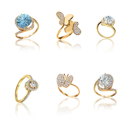 Gold Rings with Diamonds set. 3d illustration