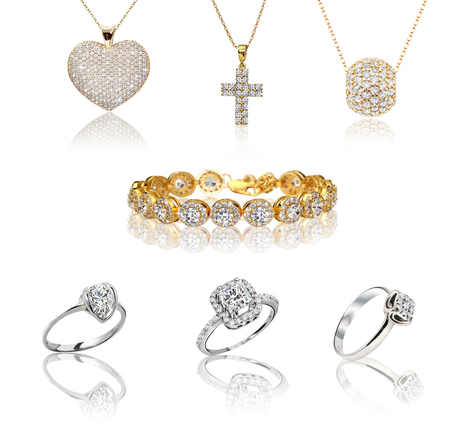 Set of jewelry. Gold Rings with Diamonds set. 3d illustration Stock Photo
