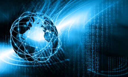 Best Internet Concept. Globe, glowing lines on technological background. Electronics,  rays, symbols Internet, television, mobile and satellite communications. Technology 3D illustration Stock Photo
