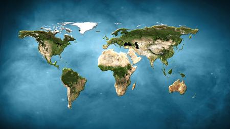 Physical world map illustration. Foto de archivo