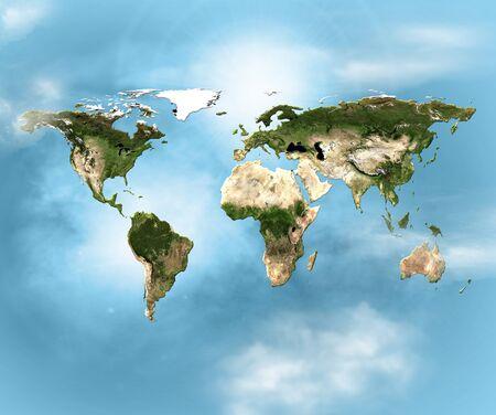 物理世界地図のイラスト。