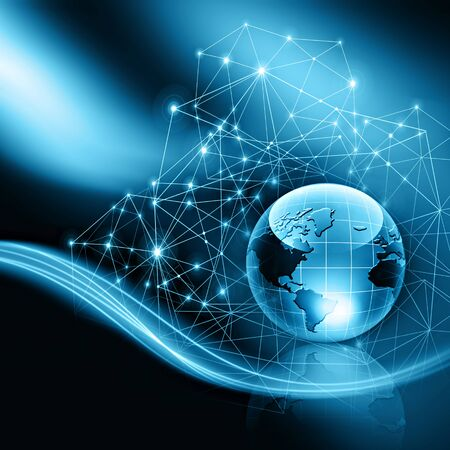 Best Internet Concept of global business. Globe, glowing lines on technological background. WiFi, rays, symbols Internet, 3D illustration 写真素材 - 95898114