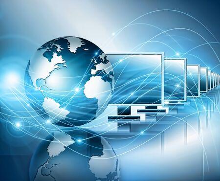 グローバルビジネスのベストインターネットコンセプト。技術の背景に輝く、地球儀。Wi-Fi, 光線, シンボル インターネット, 3D イラストレーション