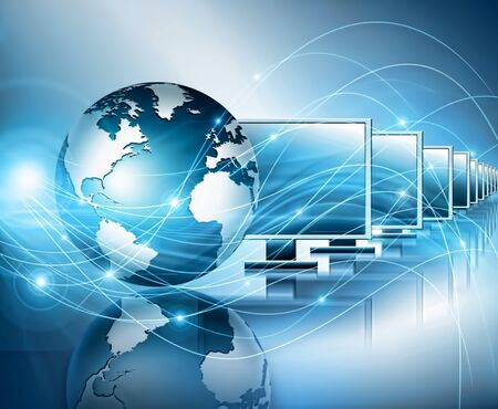 Best Internet Concept of global business. Globe, glowing lines on technological background. Wi-Fi, rays, symbols Internet, 3D illustration Banque d'images