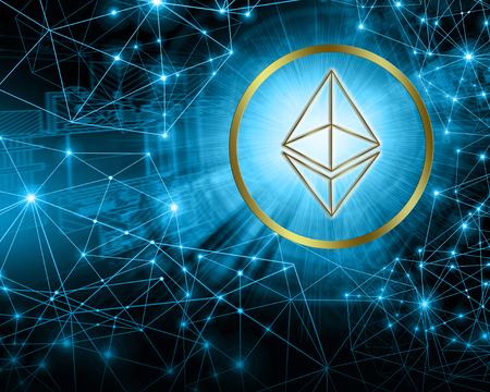 Digital currency Ethereum, futuristic digital money, Internet Concept of global business.Technological background 写真素材