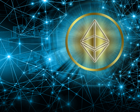 Digital currency Ethereum, futuristic digital money, Internet Concept of global business.Technological background Stock Photo