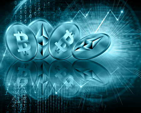 Digital currency ethereum and bitcoin, futuristic digital money, Internet Concept of global business.Technological background