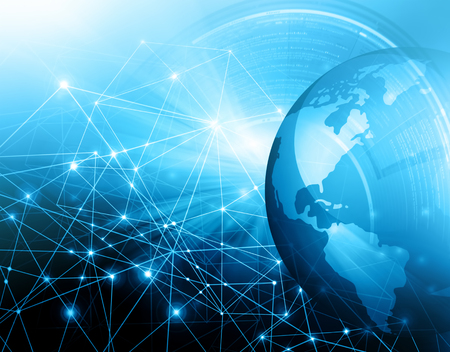 Best Internet Concept of global business.Technological background. Rays symbols WiFi, of the Internet, television, mobile and satellite communications