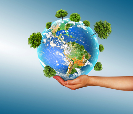 Ecological concept of the environment with the cultivation of trees on the ground in the hands. Planet Earth. Physical globe of the earth.