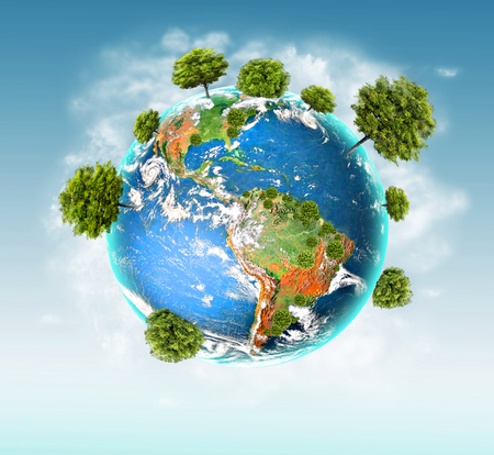 Ecological concept of the environment with the cultivation of trees . Planet Earth. Physical globe of the earth.