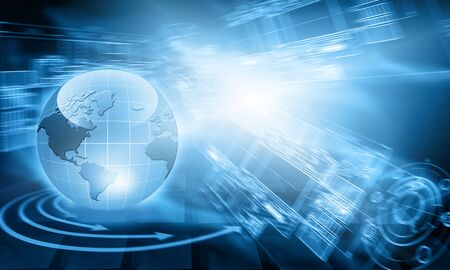 Best Internet Concept of global business. Globe, glowing lines on technological background. Wi-Fi, rays, symbols Internet, 3D illustration 写真素材 - 99895282