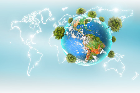 Ecological concept of the environment with the cultivation of trees. Planet Earth. Physical globe of the earth. 3D illustration