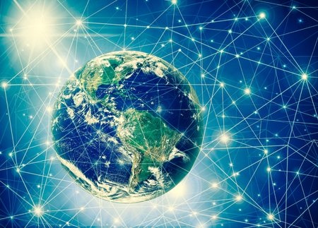 Earth from Space. Best Internet Concept of global business from concepts series. 3D illustration. Symbol of travel, internet, technology and communication Stock Photo