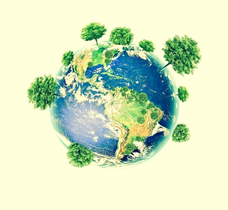Ecological concept of the environment with the cultivation of trees. Planet Earth. Physical globe of the earth.