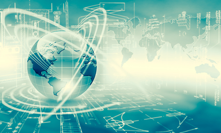 Best Internet Concept of global business. Globe, glowing lines on technological background. Wireless, rays, symbols Internet, 3D illustration 写真素材 - 100684308