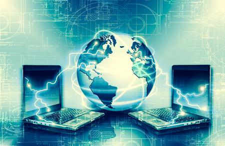 Best Internet Concept of global business. Globe, glowing lines on technological background. Wireless, rays, symbols Internet, 3D illustration 写真素材 - 100684169
