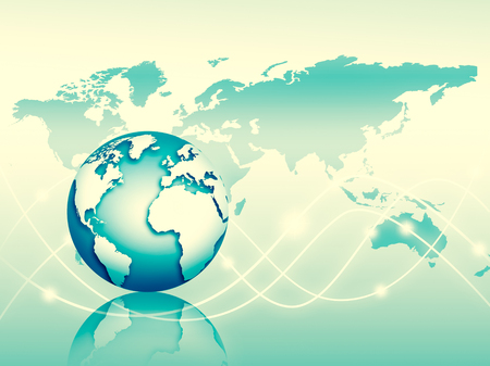 Best Internet Concept of global business. Globe, glowing lines on technological background. Wireless, rays, symbols Internet, 3D illustration
