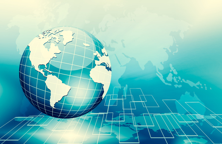 Best Internet Concept. Globe, glowing lines on technological background. Electronics, Wireless, rays, symbols Internet, television, mobile and satellite communications. Technology 3D illustration Stock Photo