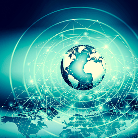 Best Internet Concept of global business. Globe, glowing lines on technological background. WiFi, rays, symbols Internet, 3D illustration 写真素材 - 100919959