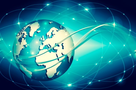 Best Internet Concept of global business. Globe, glowing lines 写真素材