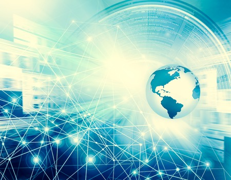 Best Internet Concept of global business. Globe, glowing lines on technological background. Wi-Fi, rays, symbols Internet, 3D illustration Stock Photo