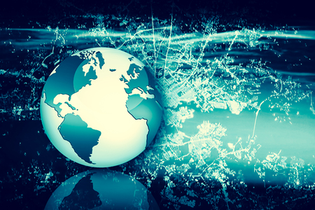 Internet Concept of global business. Globe, glowing lines on technological background. 3D illustration 写真素材