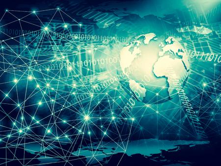 グローバルビジネスのインターネットコンセプト地球儀、技術的背景に輝く線。Wi-Fi、光線、シンボルインターネット、3Dイラスト