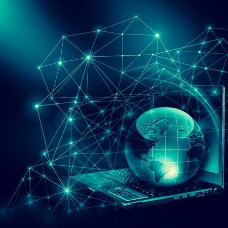グローバルビジネスのインターネットコンセプト地球儀、技術的背景に輝く線。3D イラストレーション