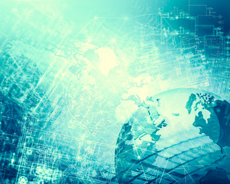Internet Concept of global business. Globe, glowing lines on technological background. 3D illustration Stock Photo