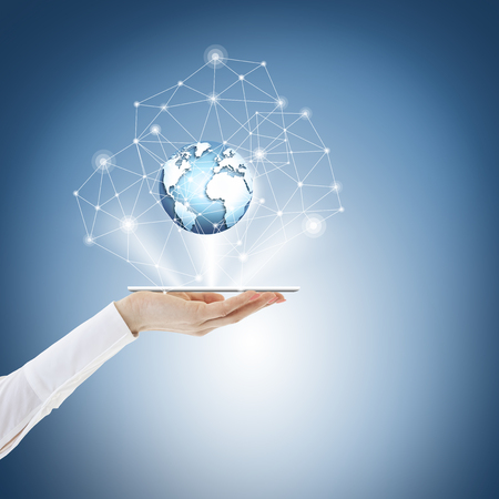 Best Internet Concept of global business from concepts series. Touch screen, hands, globe. Phone on the palm, currency icons, lines, links, connect. online business