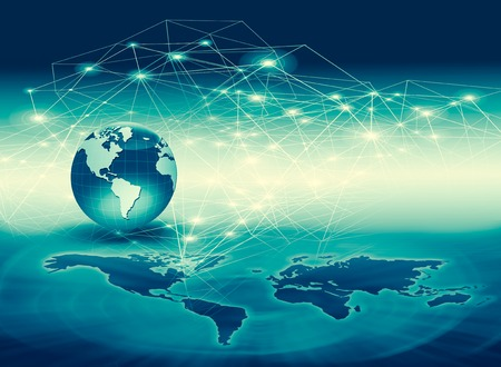 Best Internet Concept of global business. Globe, glowing lines on technological background. Wi-Fi, rays, symbols Internet, 3D illustration 写真素材 - 102796282