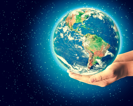 Earth from Space in hands, globe in hands Best Internet Concept of global business from concepts series.