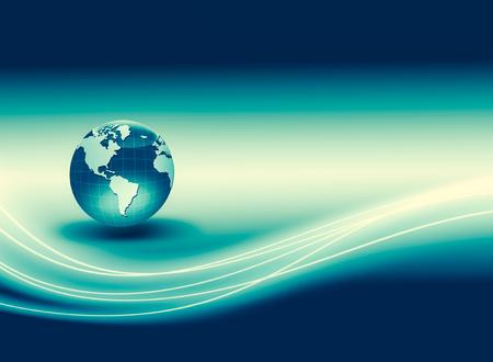 最高のインターネットコンセプト。地球儀、技術的背景に輝く線。エレクトロニクス、Wi-Fi、光線、シンボルインターネット、テレビ、モバイル、衛星通信。テクノロジー 3D イラスト