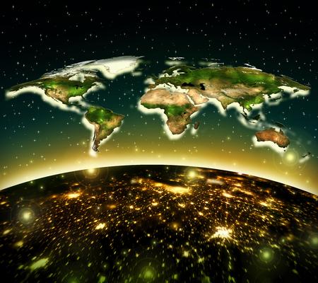 Physical world map illustration. 版權商用圖片