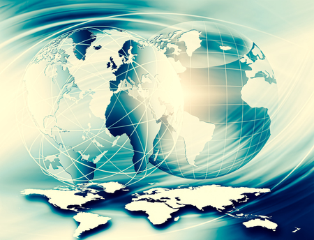 Best Internet Concept of global business. Globe, glowing lines on technological background. Wi-Fi, rays, symbols Internet, 3D illustration 写真素材