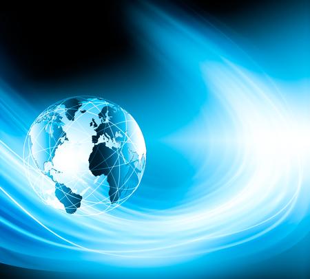 グローバルビジネスのベストインターネットコンセプト。地球儀、技術的背景に輝く線。Wi-Fi、光線、シンボルインターネット、3Dイラスト