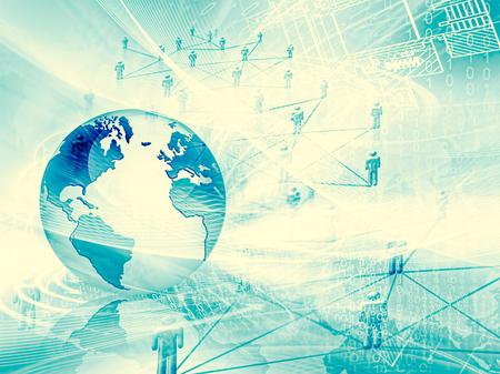 グローバルビジネスのベストインターネットコンセプト。地球儀、技術的背景に輝く線。WiFi、 光線、シンボルインターネット、3Dイラスト