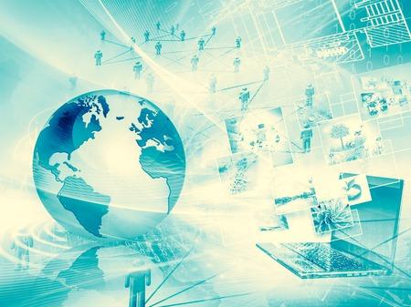 Best Internet Concept of global business. Globe, glowing lines on technological background. WFi, rays, symbols Internet, 3D illustration