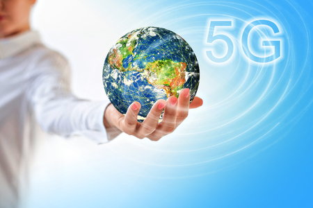 Earth from Space in hands, globe in hands. 5G k Internet mobile wireless concept.  3D illustration.