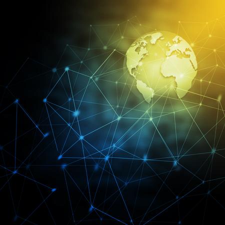 最高のインターネットコンセプト。地球儀、技術的背景に輝く線。電子機器、無線LAN、光線、シンボルインターネット、テレビ、モバイル、衛星通信。テクノロジー 3D イラスト