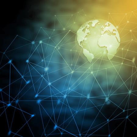 最高のインターネットコンセプト。地球儀、技術的背景に輝く線。エレクトロニクス、無線LAN、光線、シンボルインターネット、テレビ、モバイル、衛星通信。テクノロジー 3D イラスト