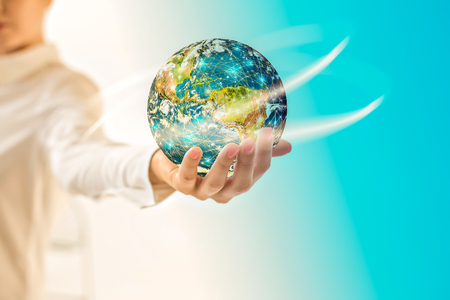 Earth from Spaceearth in hands, globe in hands . Best Internet Concept of global business from concepts series.  3D illustration. Symbol of travel, internet, technology and communication