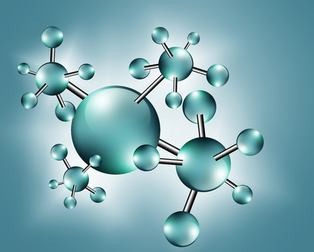 Molecule and atoms abstract background. Medical, chemical, full 3d background Abstract Molecule Stock Photo