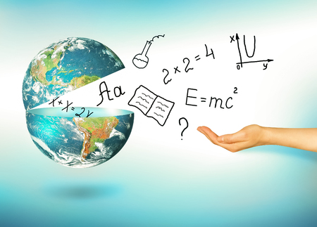 Globe and symbols of the school. Educational concept. Illustration 3d of educational concept. Formulas, drawings and letters by hand. Stock Photo