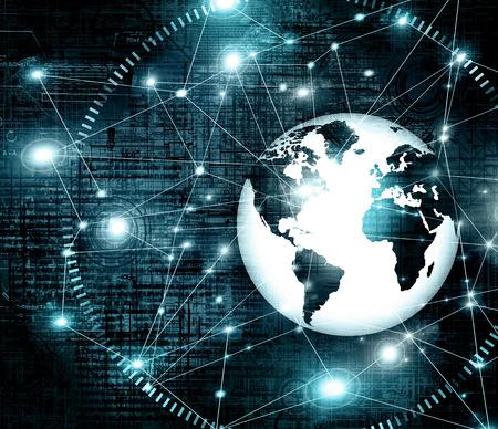 グローバルビジネスのベストインターネットコンセプト。地球儀、技術的背景に輝く線。光線,シンボルインターネット,3Dイラストレーション