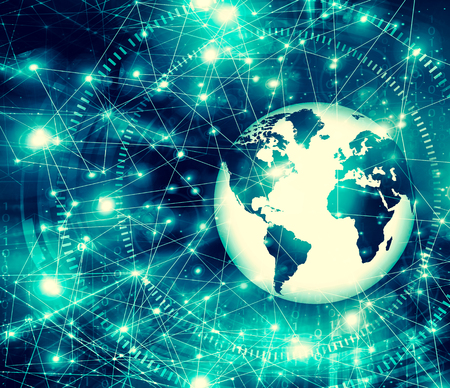 Best Internet Concept of global business. Globe, glowing lines on technological background. rays, symbols Internet, 3D illustration 写真素材 - 105856185